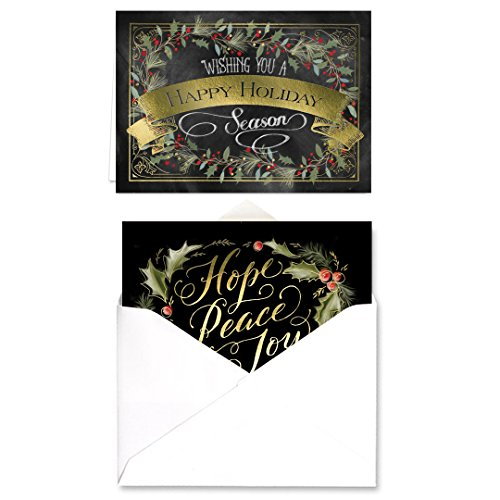 Chalkboard Holly Wreath Holiday Card Pack - Set of 36 Cards - 2 Designs, versed Inside with envelopes