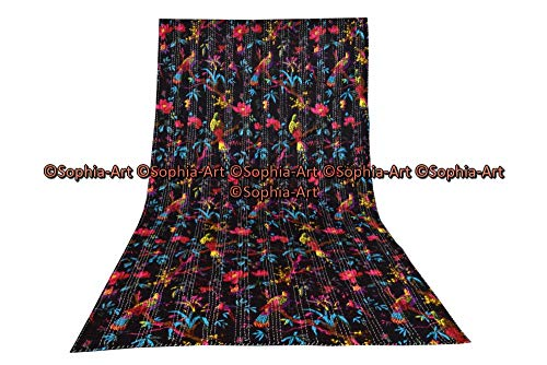 Sophia-Art Indian Reversible Kantha Blanket, King Size Bird Print Kantha Throw, Handmade Kantha Embroidered Bedspread, (Black)