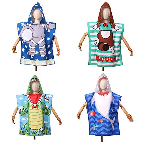Poncho de toalla para cambiar con capucha toalla linda sirena dinasour conejo zorro playa niño 2-6T niños