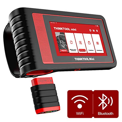 thinkcar ThinkTool Mini All System Diagnosis with 5.99' Touch Screen 2G/32G Car Code Reader OBD2 Scanner with 28 Services - Modular Design Car Tool with Actuation Test & ECU Coding