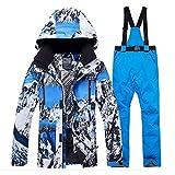 UJDKCF Chaqueta + Correa Pantalón de Traje de Nieve para Hombre Conjuntos de Snowboard al Aire Libre Desgaste Trajes de esquí Pic Jacket and pant5 XL