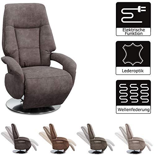 Cavadore TV-Sessel Edinburgh / Fernsehsessel mit Aufstehhilfe & elektrisch verstellbarer Relaxfunktion / 2 E-Motoren / 74 x 114 x 77 / Lederoptik: hellbraun