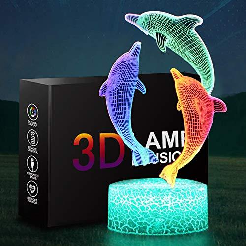 Luz nocturna para niños, ONXE 3D ilusión lámpara 3 patrones dinámicos de colores cambiantes de control táctil, lámpara de decoración de Navidad para niñas y niños (delfín)