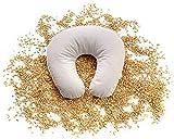 Cuscino da viaggio Cuscino semi di Farro, Cuscino collo Supporto Ortopedico per pula di farro Bio con Fodera rimuovibile in 100% cotone 35 x 33 cm