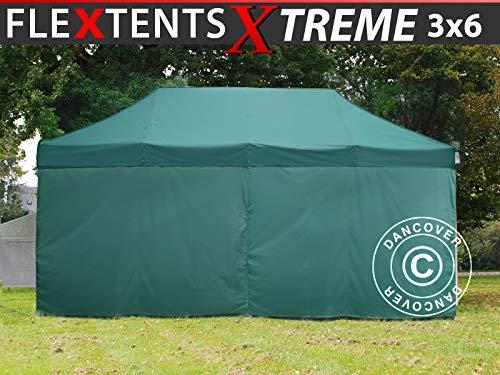 Dancover Pop up gazebo FleXtents Pop up canopy Folding tent Xtreme 60 3x6 m Green, incl. 6 sidewalls