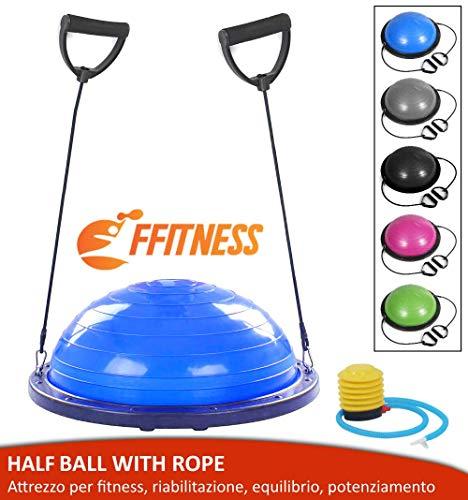 FMYBB70B Balance Ball Trainer con Elastici | Palla (Ø 60 cm) per Fitness Yoga Pilates Allenamento Riabilitazione | in ABS e PVC antiscoppio (Blu)