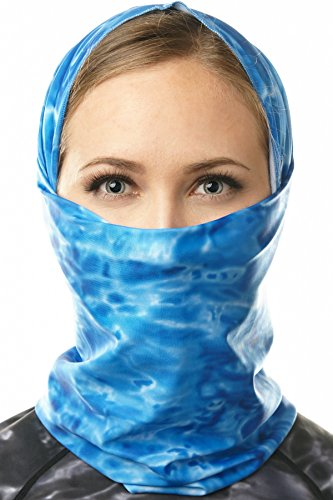 Aqua Design Face Mask for Women: UPF 50+ Motorcycle Ski Cover Balaclava Gaiter: Royal Ripple: Size XS