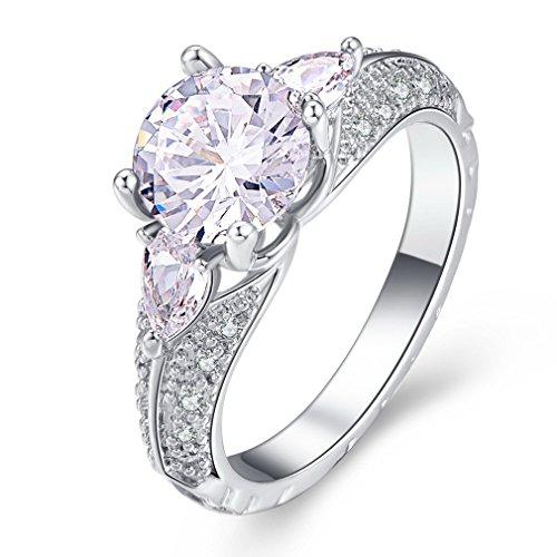 YAZILIND Anillo Promesa Hermosa Blanco Cubic Zirconia Platino Chapado En Diamantes de Imitación Compromiso de Boda para Las Mujeres Tamaño 12