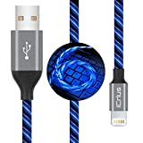 iCrius iPhone Charger Cable, MFi Certified 6ft LED Light Up Visible Flowing Lightning Charger Charging Cord Compatible with iPhone12 Plus/XS/XR/X /8 Plus / 8/7 Plus / 7, iPod Touch More