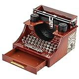 Carillon con Macchina da Scrivere Vintage, Carillon con meccanismo a orologeria per Macchina da Scrivere retrò Creativa in Stile Vintage Mini, Scatola per Gioielli in Legno Color Grano per scrivania