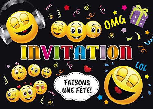 Edition Colibri Invitations Smiley en Français: Lot de 10 Cartes d'Invitation rigolotes Smileys / Émoticônes pour Un Anniversaire ou pour Une discothèque des (11016 FR)