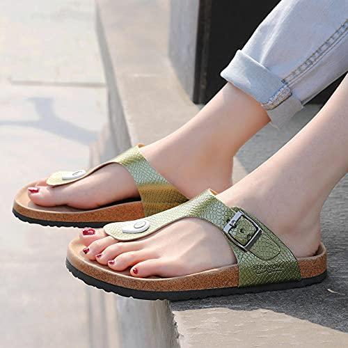 COQUI Zapatillas casa Mujer,Zapatillas de Corcho para Mujer Corcho sandwear Color de Metal Color Hilo-Verde_35