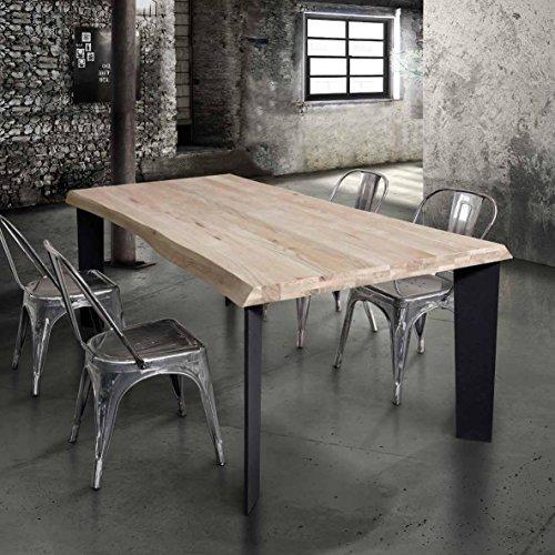 Table avec plateau en bois massif de 4 cm d'épaisseur et pied en metal; dimensions cm 160x90 fixe.