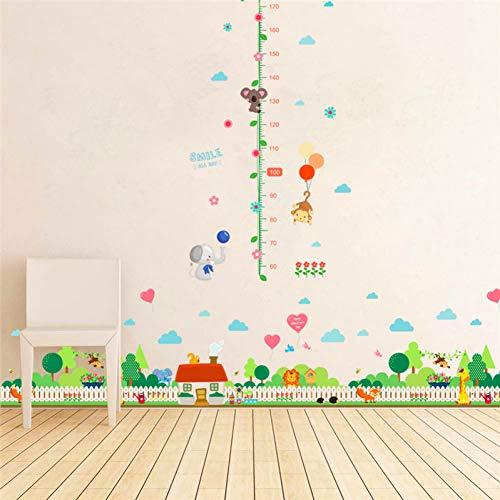CSCZL Waldbaum Giraffe Löwe Dorfhaus Zaun Wandaufkleber für Kinderzimmer Tierhöhe messen Wandkunst Dekor Aufkleber DIY Wandbild