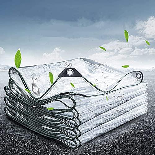 WLVG Plano de plástico PVC Transparente Tissue Plane Plano de Cubierta Impermeable con Ojales, marquesinas y planificación, para Muebles de jardín, Piscina, Coche, Plan de protección Impermeable