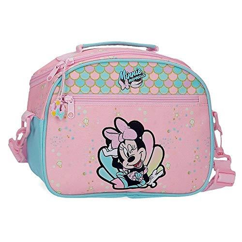 Disney Minnie Mermaid Neceser Adaptable con Bandolera Rosa 25x19x10 cms Poliéster