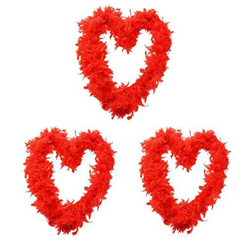 ILOVEFANCYDRESS Confezione da 3 Boa di Piume Rosse Perfetto per I Costumi 180 CM di Lunghezza E 80GR Boa di Piume Perfetto per ADDII al Celibato, Costumi O Feste in Costume in Confezioni da 9