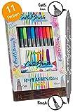 ONLINE Calli.Brush, Handlettering Brush-Pen, Pinsel-Stifte 11er Set, Kalligraphie-Set in Bambus Geschenk-Verpackung, Pens mit Calligraphie-Spitze und Pinsel-Spitze für Bullet Journal, Wasserfarben