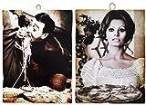 KUSTOM ART Juego de 2 cuadros de estilo vintage con los famosos «Totò y Sofia Loren» que sirve la pizza. Impresión sobre madera para decoración de restaurante y pizzería, tractor bar, hotel, locanda