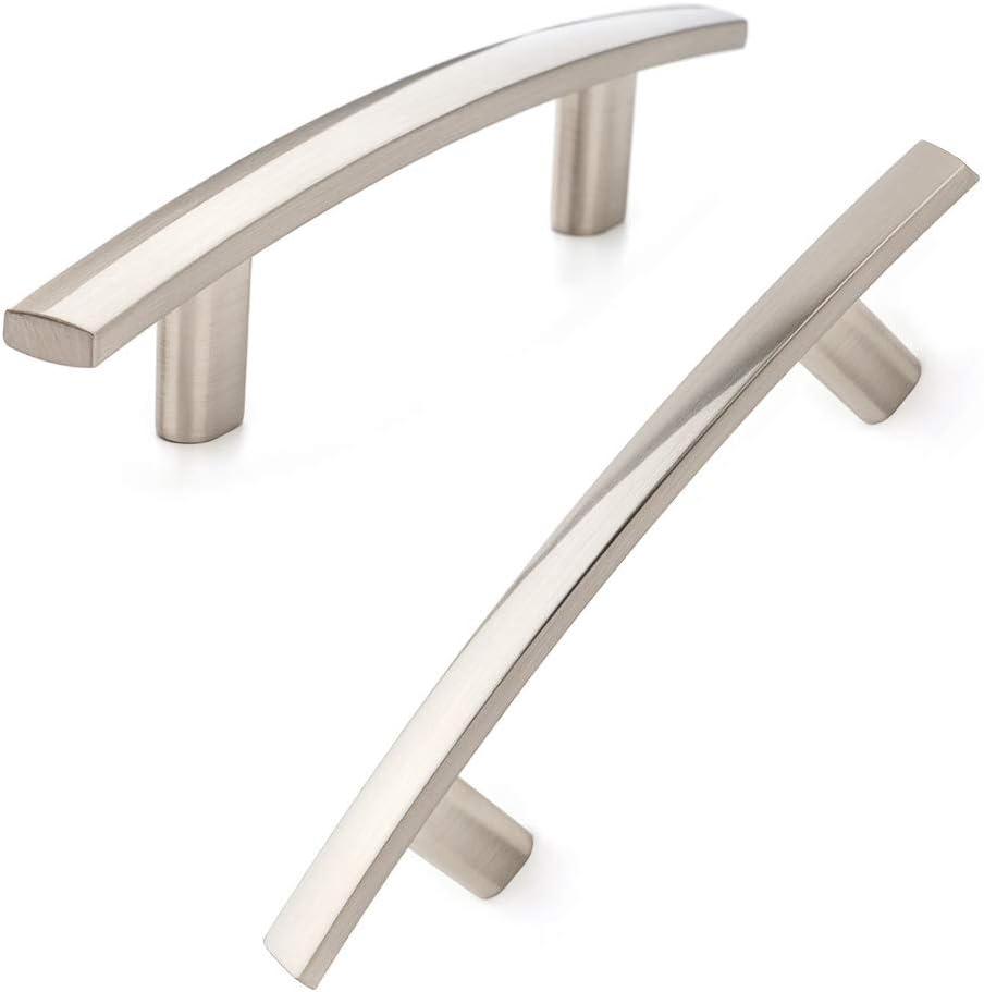 Koofizo Curved Bar Cabinet Pull - Shiny Brushed Nickel Furniture Arch Handle, 3 Inch/76mm Screw Spacing, 10-Pack for Kitchen Cupboard Door, Bedroom Dresser Drawer, Bathroom Wardrobe Hardware
