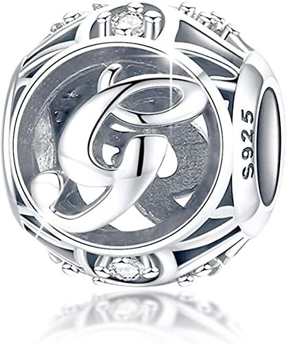 HUIQ Letra Encanto Inicial A-Z Alfabeto Encanto Cuelga Charm para Pulsera Collar 925 Sterling Silver Cz Beads Charm Día de Madres Regalo con Caja-GRAMO