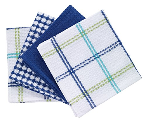 """T-fal Textiles Cotton Flat Waffle Dish Cloth, Highly Absorbent, Machine Washable, 12"""" x 13"""", Cool, 4-Pack"""