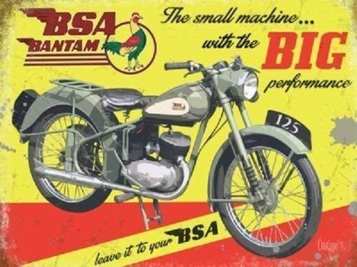 BSA bantam. moteur vélo en vert/gris en jaune arrière SOL ancienne, PUBLICITÉ RÉTRO POUR MAISON, maison, BARRE, bar pub ou garage métal/PANNEAU MURAL métalique - 9 x 6.5 cm (Magnet)