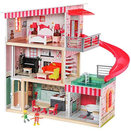 Top Bright Casa delle Bambole con Mobili e Bambole, Casa delle Bambole in Legno per Ragazze di 3 anni in su, 18 Mobili con Suoni e Luci