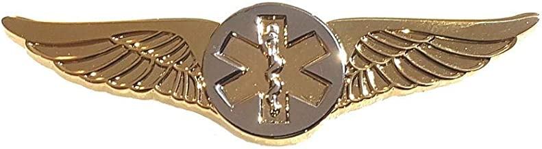 Flight Wings Star of Life Paramedic EMT Pilot Medical Gold with Silver - A 121
