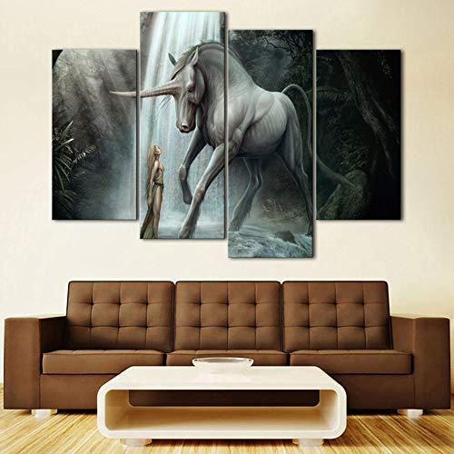 Unicornio de dibujos animados Impresiones de lienzo Animal arte de pared de lona cuadro Poster para la decoración de la sala de estar: 4 piezas sin marco