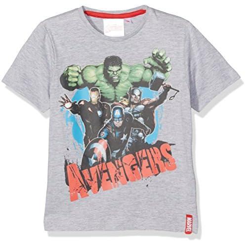 Marvel Avengers C Maglietta, Grigio, 9-10 Anni Bambino