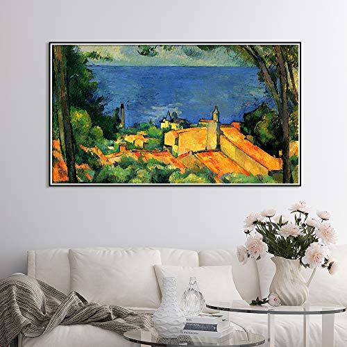 SADHAF landschapolieverfschilderij op canvas poster en woonkamerwandschilderij op Scandinavisch schilderij woonkamerdecoratie 60x90cm (kein Rahmen) A5