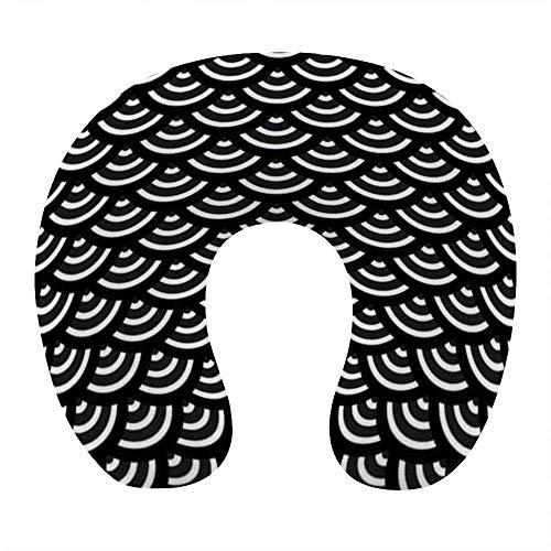 Almohada de viaje en forma de U de moda Cojín de apoyo para el descanso del cuello Almohada de descanso de viaje cómoda y transpirable para dormir en el avión / coche / oficina (arte japonés de escama