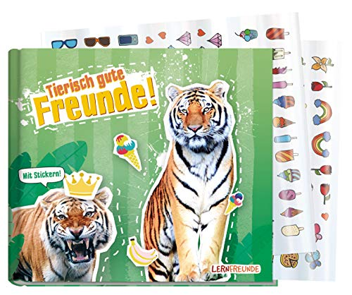Freundebuch Schule für Jungs und Mädchen [Tiger] Hardcover Poesiealbum, liebevoll und witzig gestaltet - mit bunten Stickern! von Lernfreunde by Häfft | nachhaltig & klimaneutral