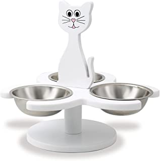 Etna Pet Store Wooden Multi-Cat Raised Feeder with 3 Metal Bowls