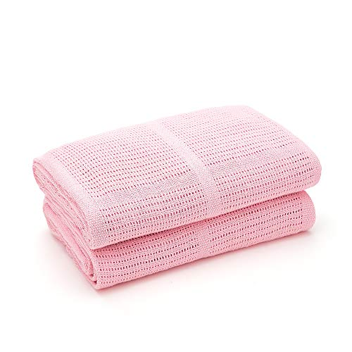 Bloomsbury Mill - Twin Pack - 100% Pure Organic Cotton - Extra Soft Cellular Baby Blankets - Pram/Travel/Moses Basket - Pink