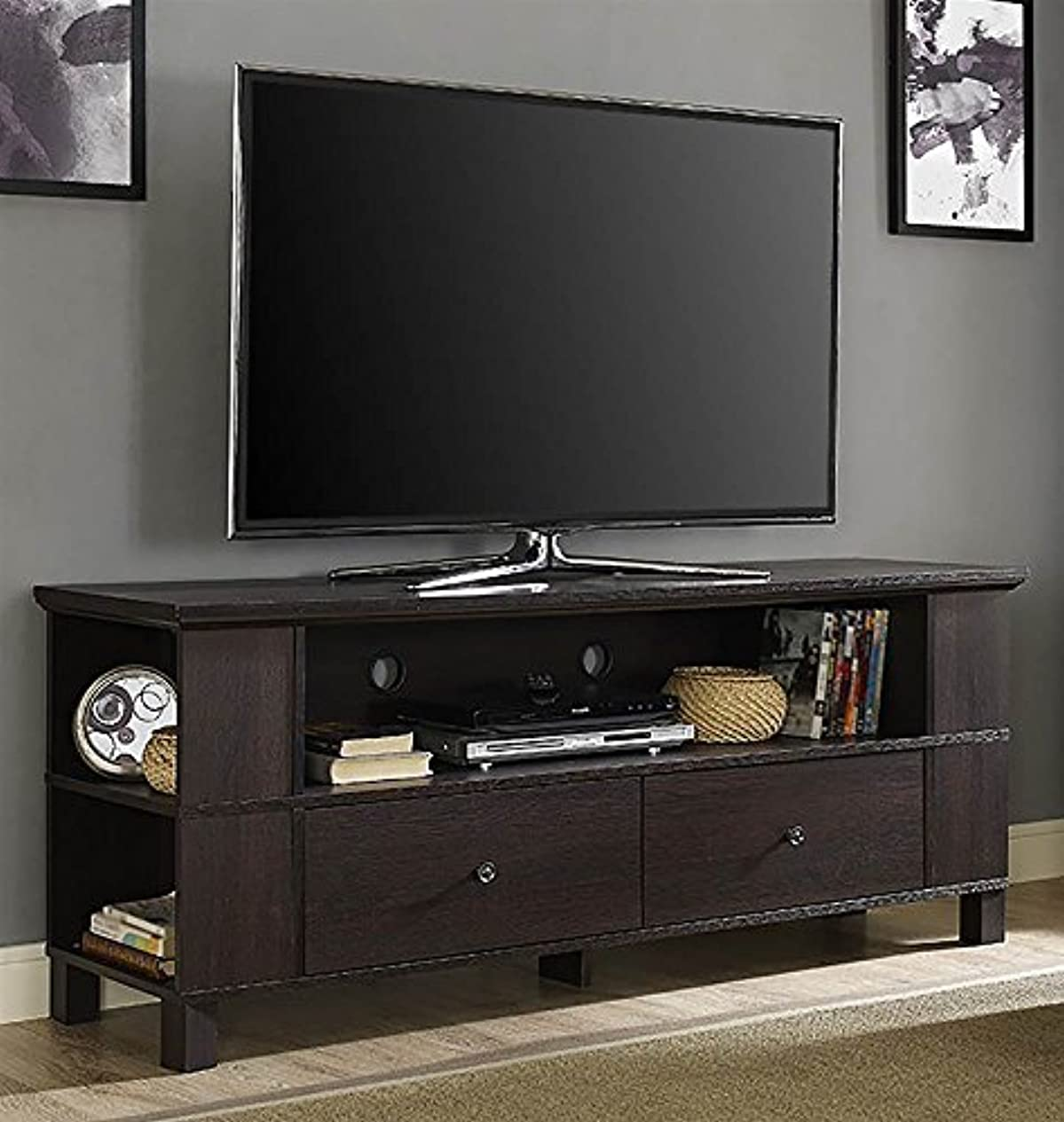 責ブラシ反逆者WE Furniture 60 Wood Storage TV Stand Espresso [並行輸入品]