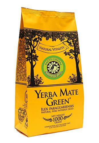 Yerba Mate Green Silueta 1000 g | Mate Grün Brasilianischer Mate-Tee 1 Kg | Leicht Süß und Sauer Mate Tee | mit Minzblatt, Hagebutte | Fenchelfrucht und Apfelaroma | Hohe Qualität Großes Paket |