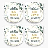 Personalized Eucalyptus Baby Shower Favor Stickers for Mini Plastic Bottles | Set of 30 Customized Green & Gold Shower Favor Labels | Party Favor Stickers for 1 Ounce Bottles (HSL162)