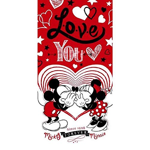 MICKEY Minnie Love You – Toalla de Playa – Toalla de baño – Dimensiones: 75 x 140 cm