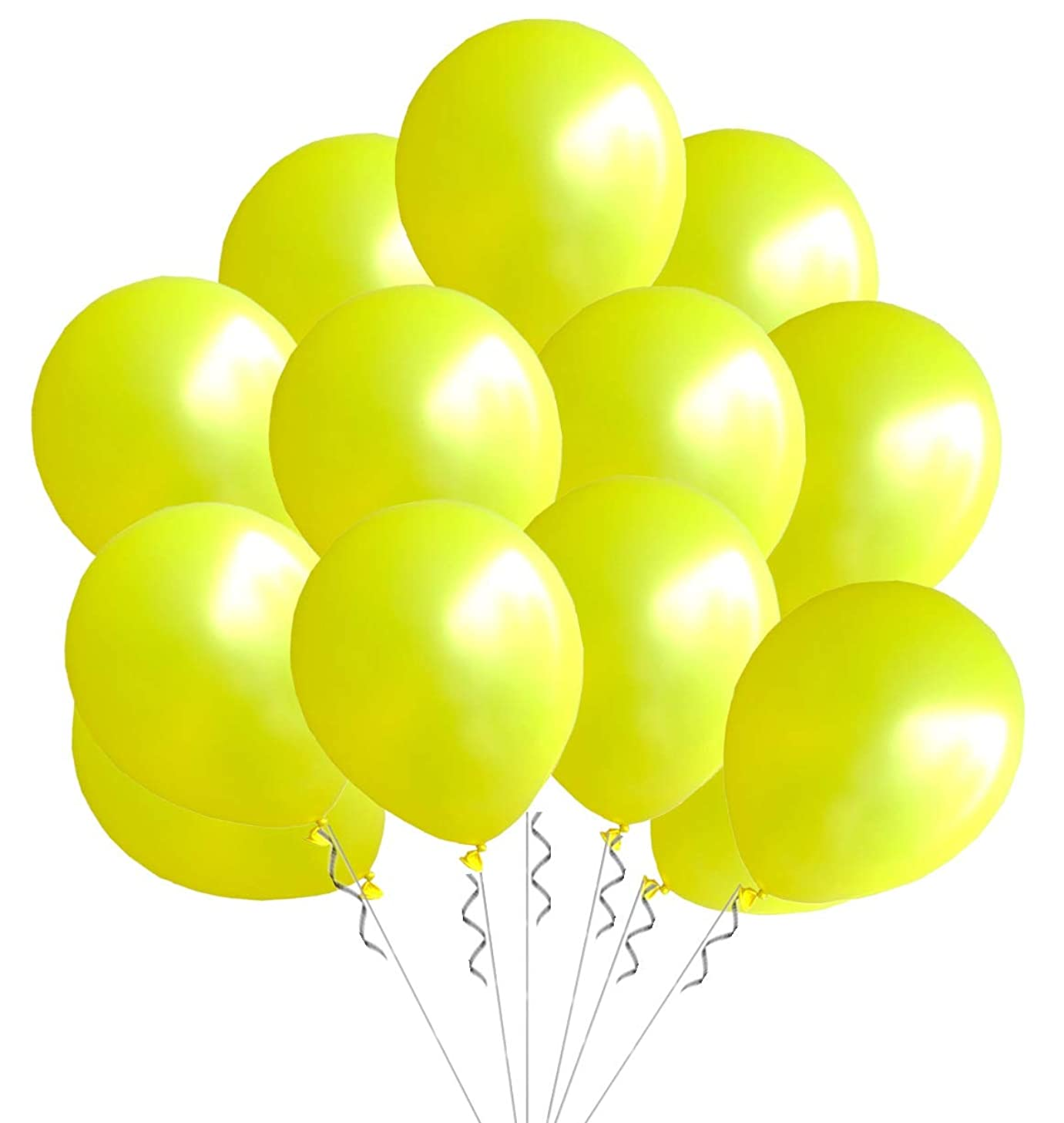 Elecrainbow 100 Pack 12 Inch 3.2 g/pc Thicken Round Pearlescent Latex Party Yellow Balloons for Party Decorations, Yellow