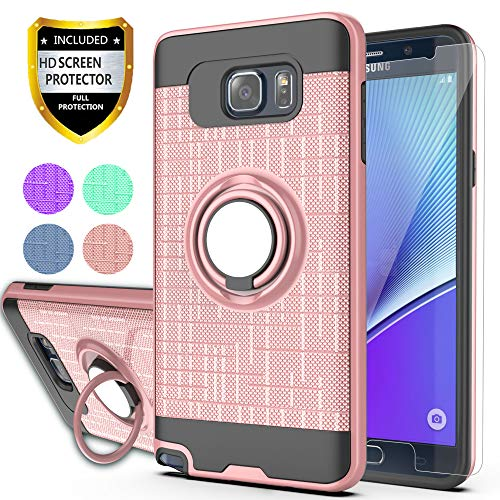 Note 5 Case,Galaxy Note 5 Case with HD Phone Screen Protector,Ymhxcy 360 Degree Rotating Ring & Bracket Dual Layer Resistant Back Cover for Galaxy Note 5-ZH Rose Gold