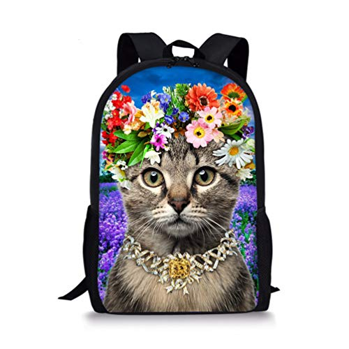 Showudesigns Cat Flower School Backpack for Girls Teenagers Joules Children Schoolbag Packs with Drink Holder