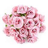 Kesote 50 Cabezas de Flores Artificiales Cabezas de Rosas para Decoración de Banquete de Boda DIY Regalo del Día de San Valentín (4cm, Rosa)