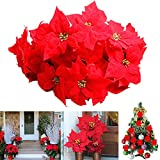 JUSTDOLIFE 48PCS Ornamento dell Albero di Natale del Fiore Artificiale Decorativo del Fiore di Natale