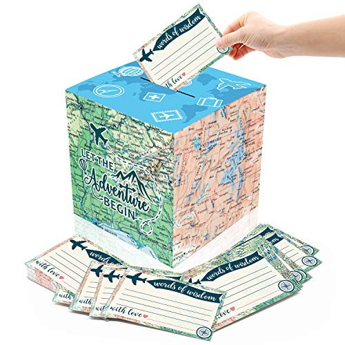 Yaaaaasss! 51PCS Adventure Card Box Holder and Advice Cards for Adventure Awaits Bon Voyage Farewell Travel Themed Birthday Graduation Retirement Job Career Change Party Decorations Supplies