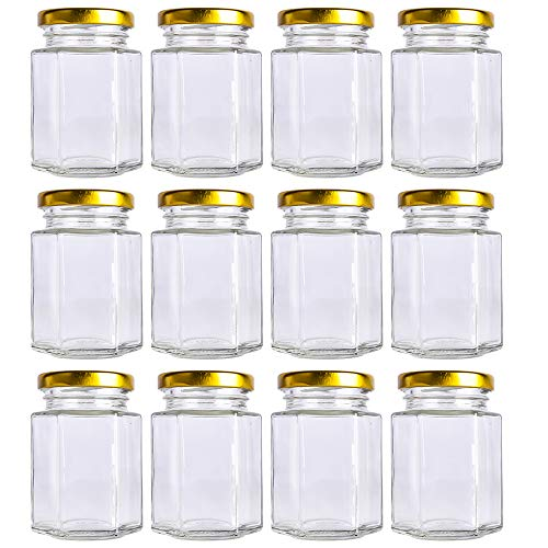 30 pack 1.5 oz 50ml Mini Clear Glass Jam Jars for Jam, Honey,candies,Baby Foods, DIY Magnetic Spice Jars(Comes with black lids)
