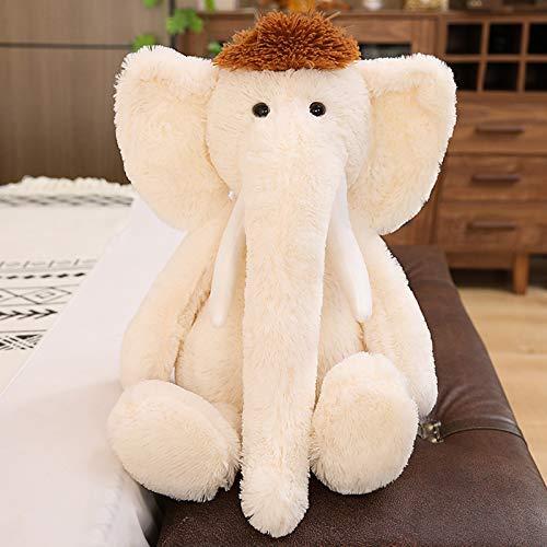 XIAN pelo lungo elefante peluche giocattolo 70 cm 0,48 kg marrone grandine (colore : bianco sporco, Dimensioni: 70 cm0,48 kg)
