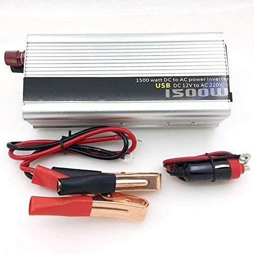 Inversor de energía de coche de 12V a 220V 750W de potencia máxima 1500W Dc Outlets y adaptador universal AC convertidor de USB, Inversor de onda sinusoidal modificada, cuerpo de aluminio duradero y p