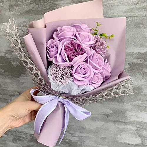 Laluna フラワーソープ 枯れない花 バラ花束 プレゼント 誕生日 結婚 記念日 卒業 入学 出産 お祝い 母の日 バレンタインデー 昇進 転居など最適としてのプレゼント (パープル)
